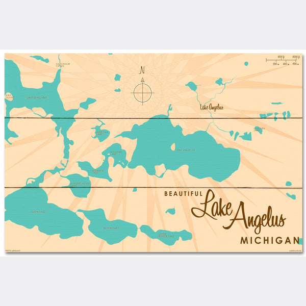 Lake Angelus Michigan, Wood Sign Map Art