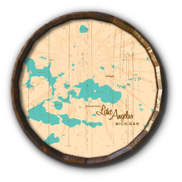 Lake Angelus Michigan, Rustic Barrel End Map Art
