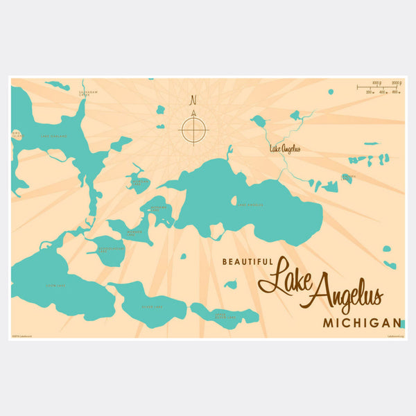 Lake Angelus Michigan, Paper Print