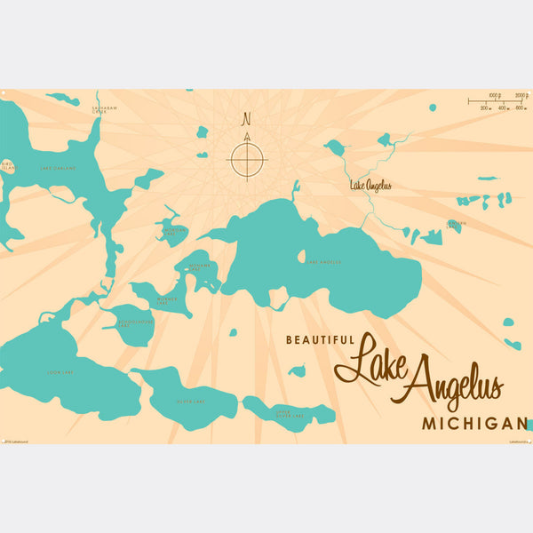 Lake Angelus Michigan, Metal Sign Map Art