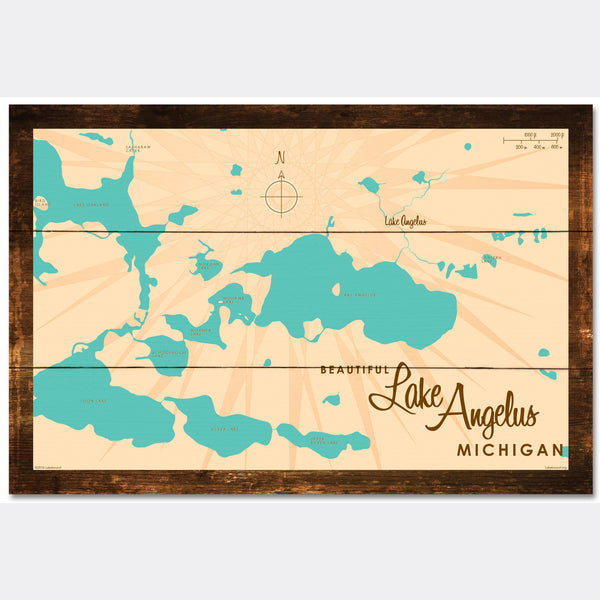 Lake Angelus Michigan, Rustic Wood Sign Map Art