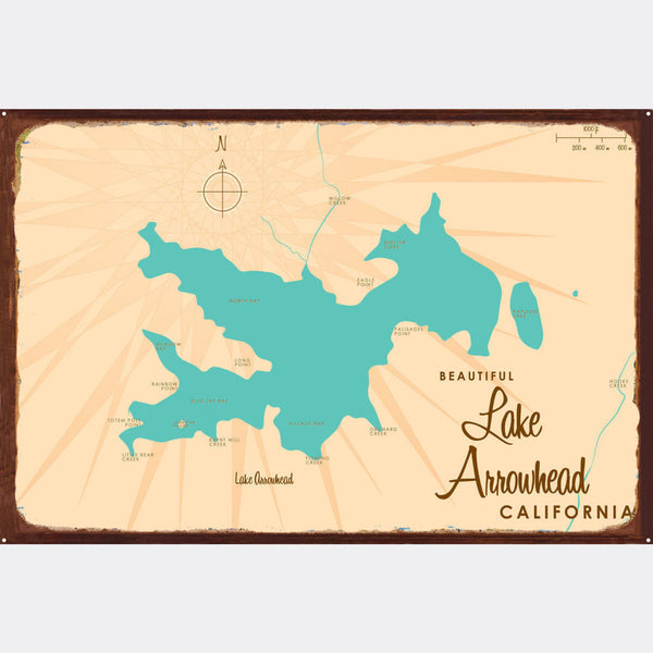 Lake Arrowhead California, Rustic Metal Sign Map Art
