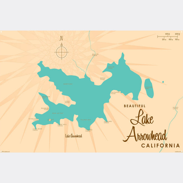 Lake Arrowhead California, Metal Sign Map Art