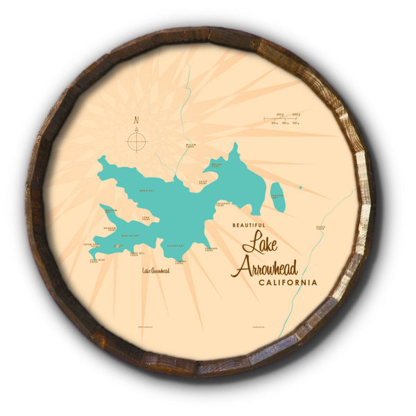 Lake Arrowhead California, Barrel End Map Art