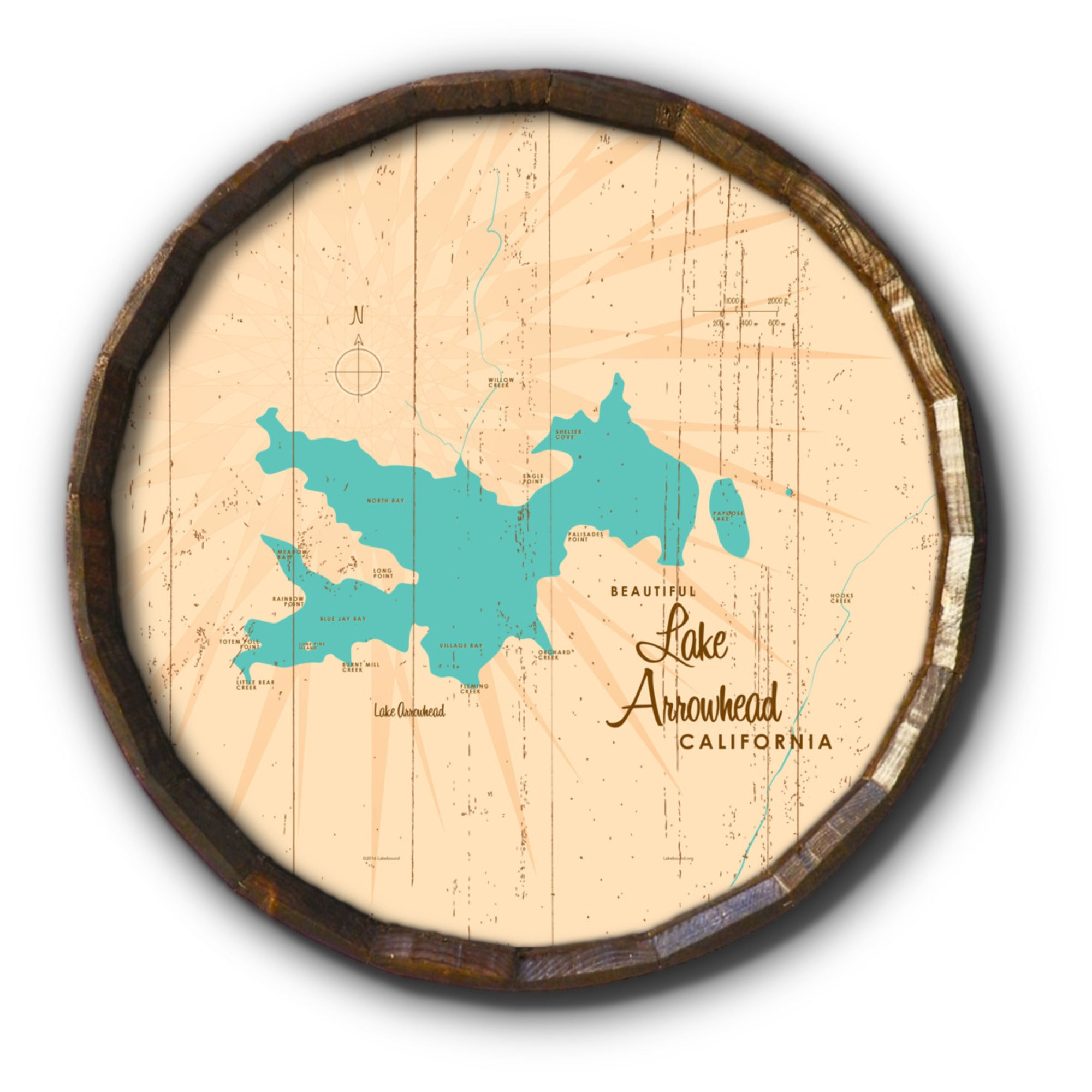 Lake Arrowhead California, Rustic Barrel End Map Art