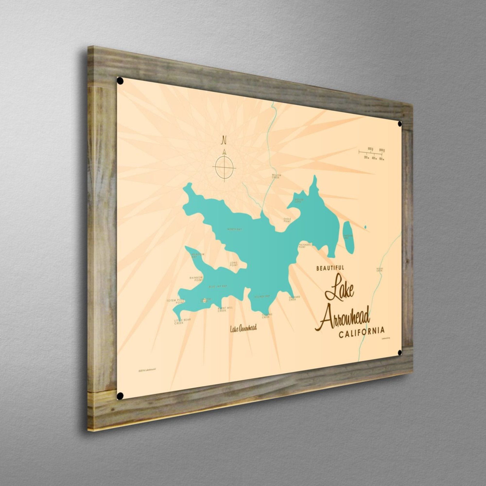 Lake Arrowhead California, Wood-Mounted Metal Sign Map Art