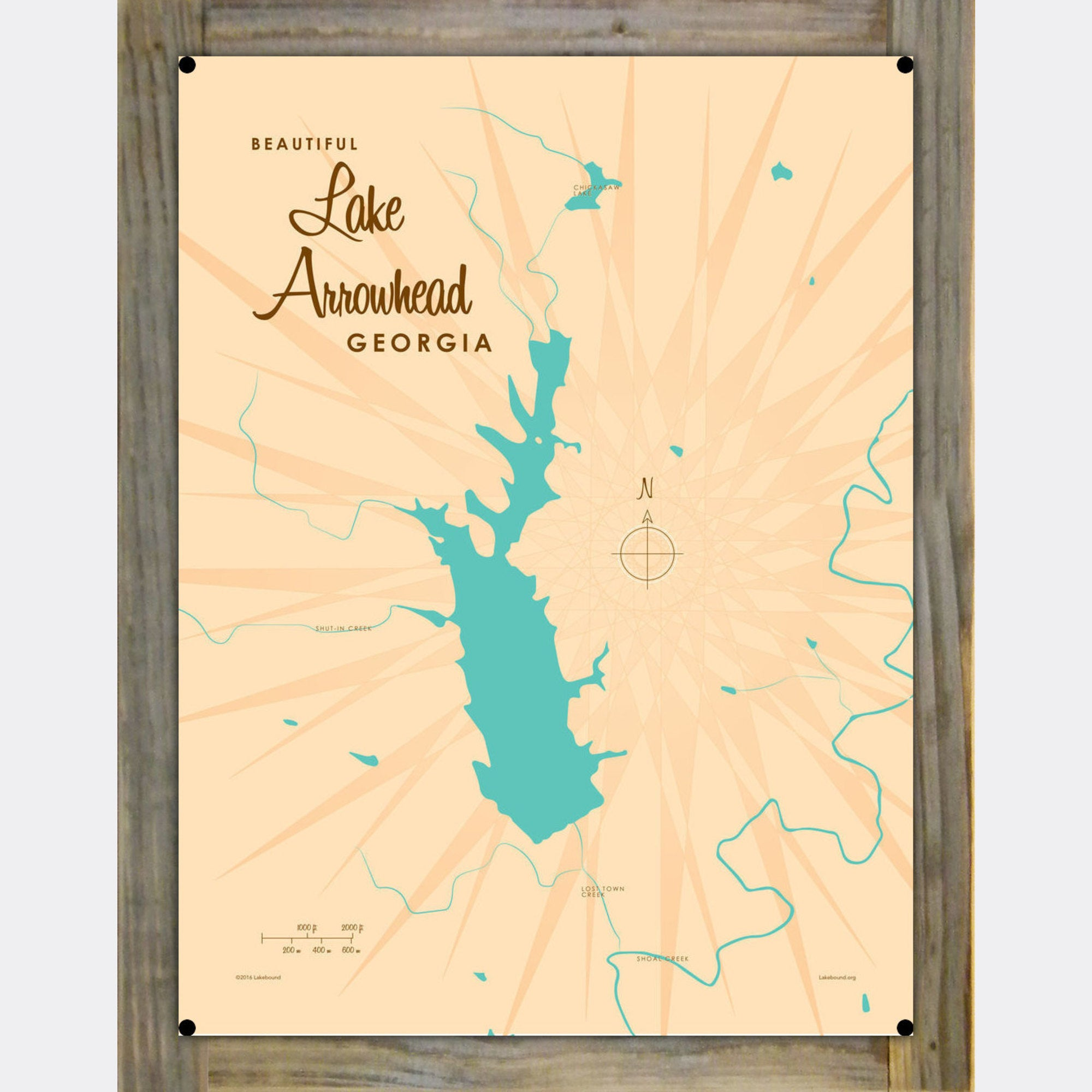 Lake Arrowhead Georgia, Wood-Mounted Metal Sign Map Art