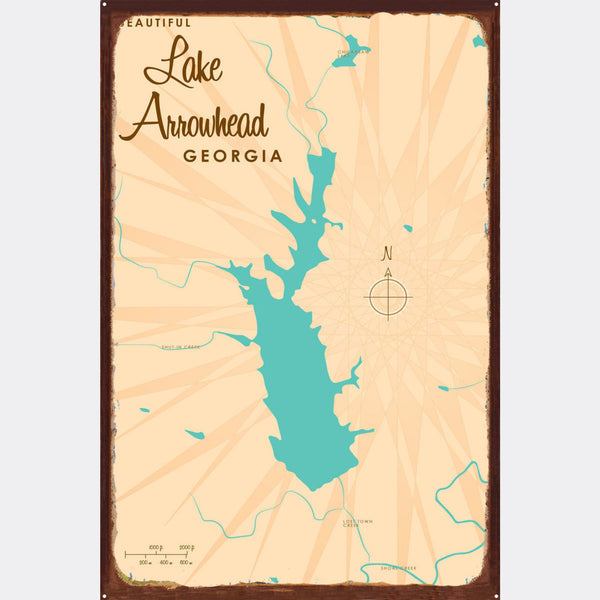 Lake Arrowhead Georgia, Rustic Metal Sign Map Art