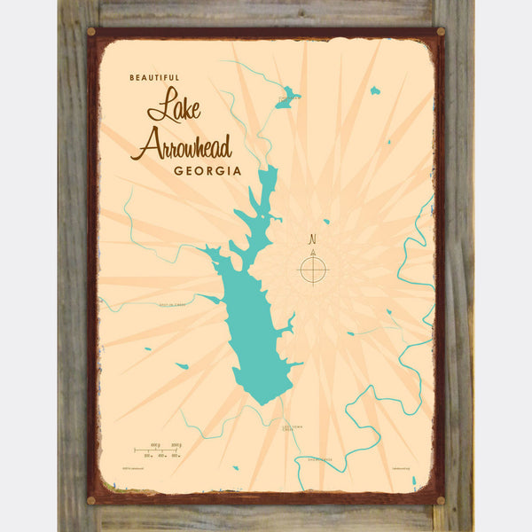 Lake Arrowhead Georgia, Wood-Mounted Rustic Metal Sign Map Art