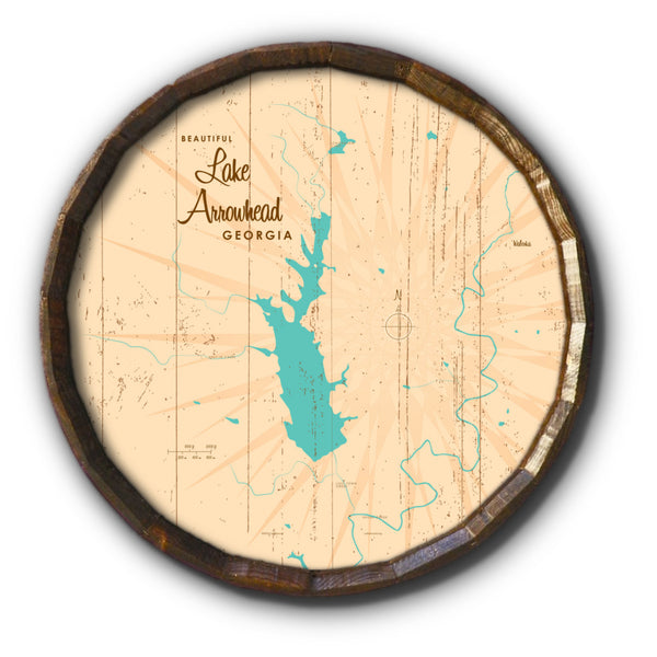 Lake Arrowhead Georgia, Rustic Barrel End Map Art