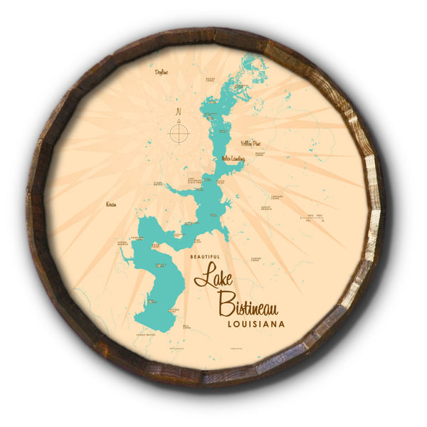 Lake Bistineau Louisiana, Barrel End Map Art