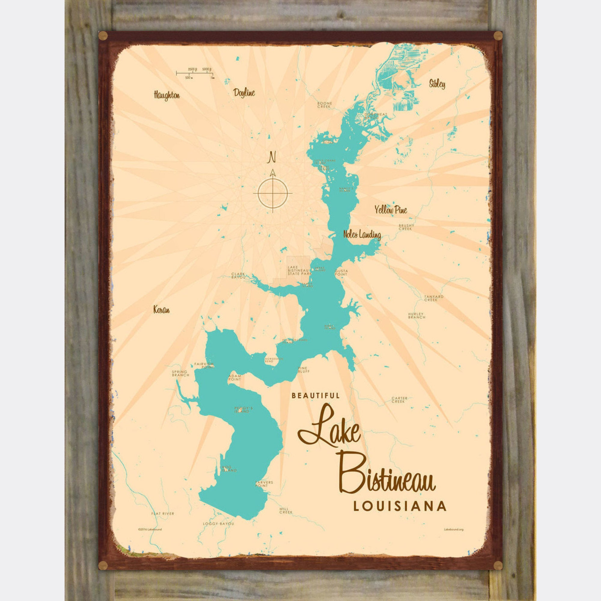 Lake Bistineau Louisiana, Wood-Mounted Rustic Metal Sign Map Art