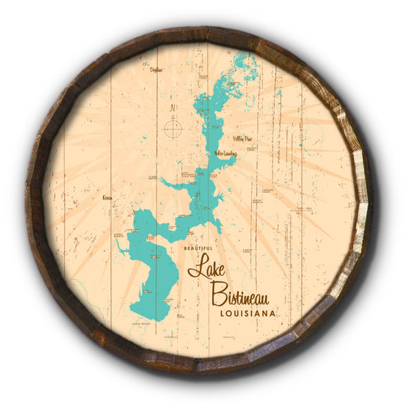 Lake Bistineau Louisiana, Rustic Barrel End Map Art