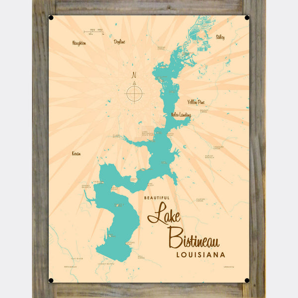Lake Bistineau Louisiana, Wood-Mounted Metal Sign Map Art