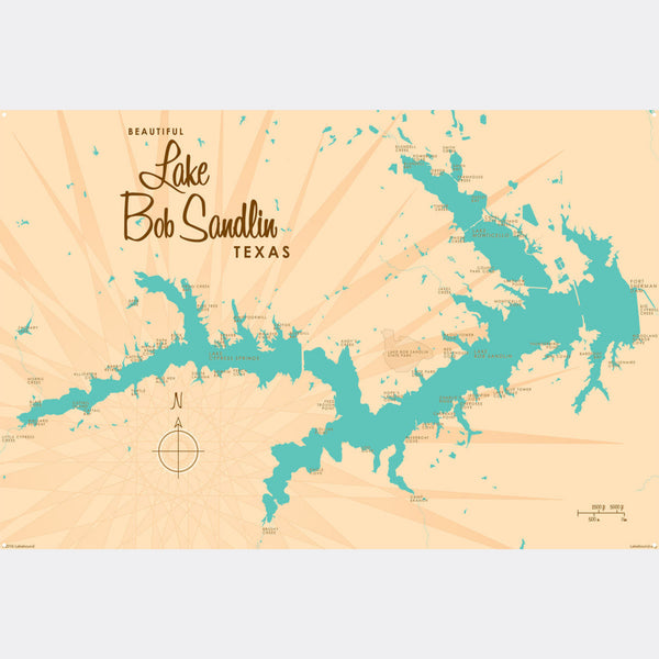 Lake Bob Sandlin Texas, Metal Sign Map Art