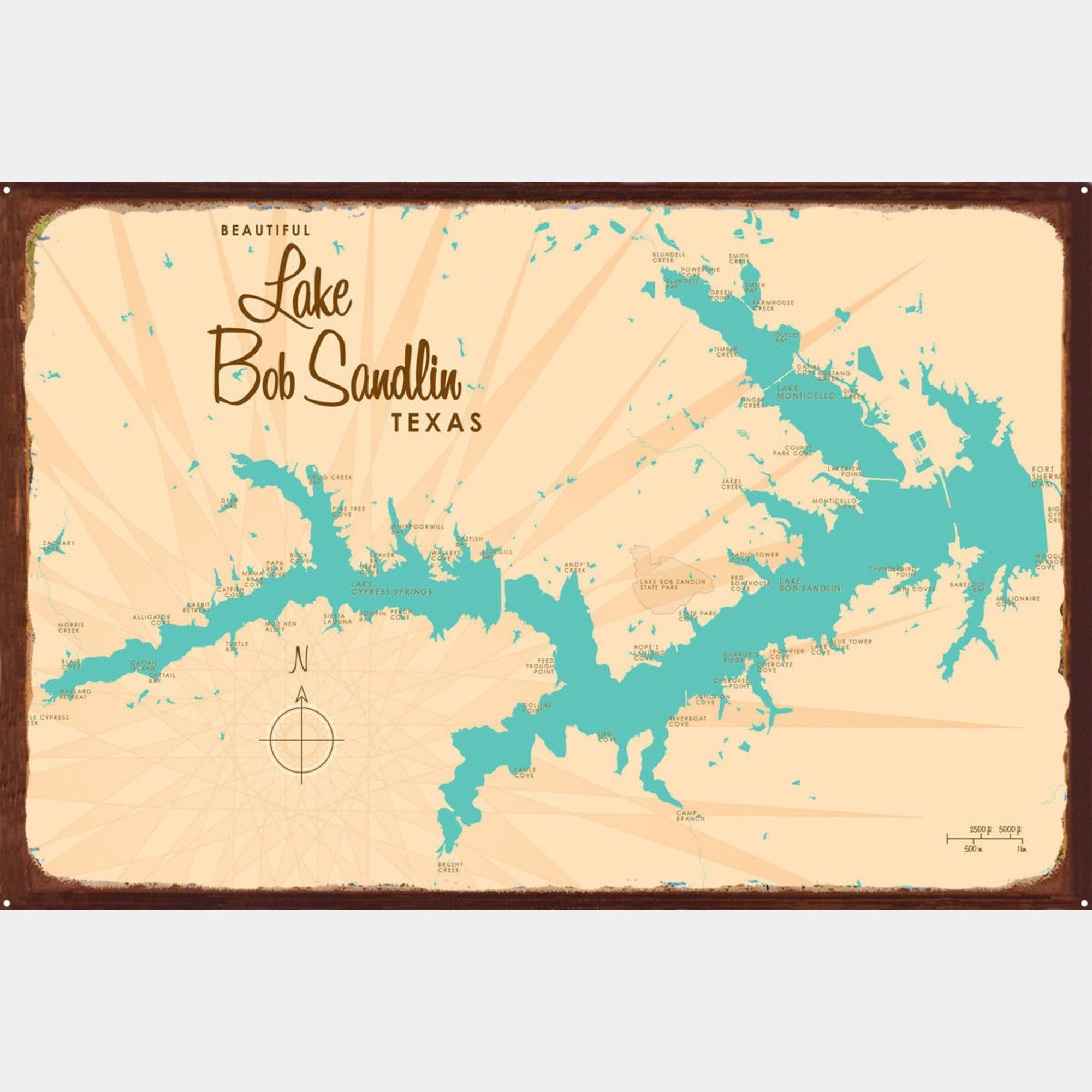 Lake Bob Sandlin Texas, Rustic Metal Sign Map Art