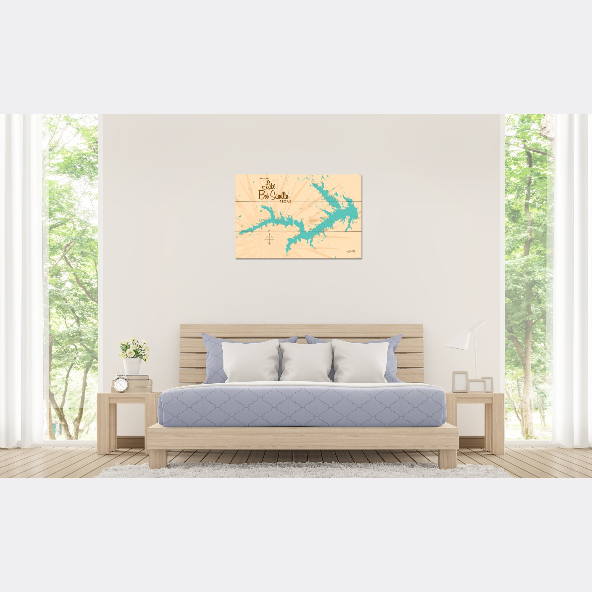 Lake Bob Sandlin Texas, Wood Sign Map Art