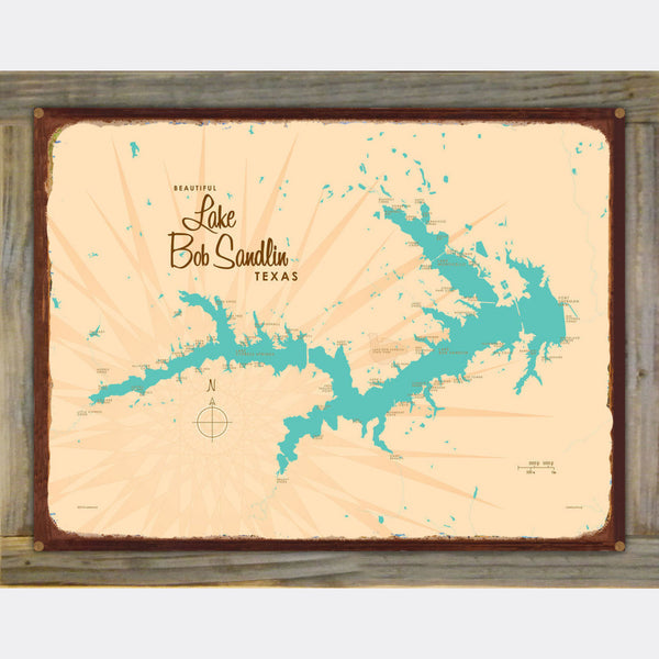 Lake Bob Sandlin Texas, Wood-Mounted Rustic Metal Sign Map Art