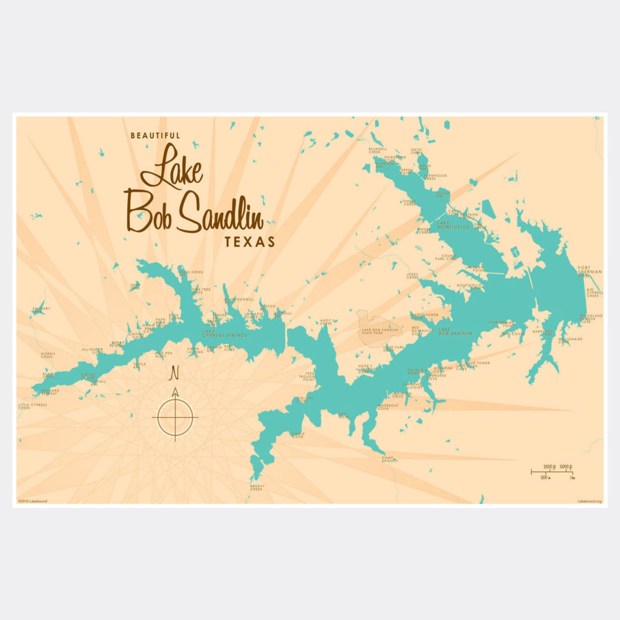 Lake Bob Sandlin Texas, Paper Print