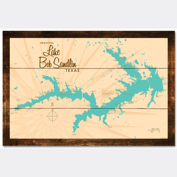 Lake Bob Sandlin Texas, Rustic Wood Sign Map Art