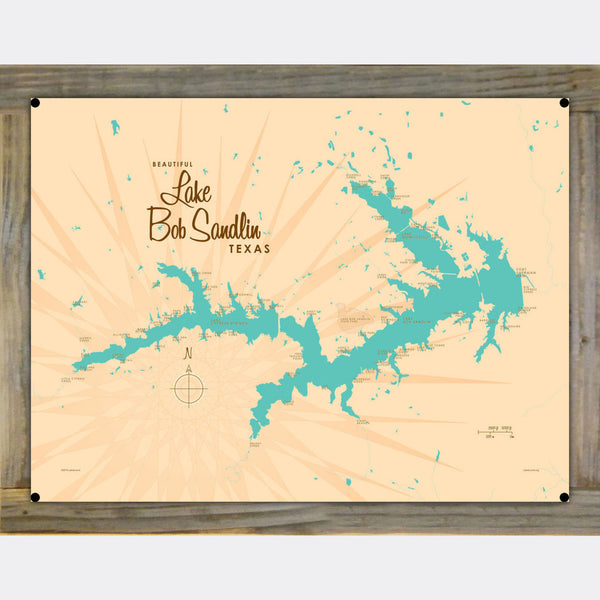 Lake Bob Sandlin Texas, Wood-Mounted Metal Sign Map Art