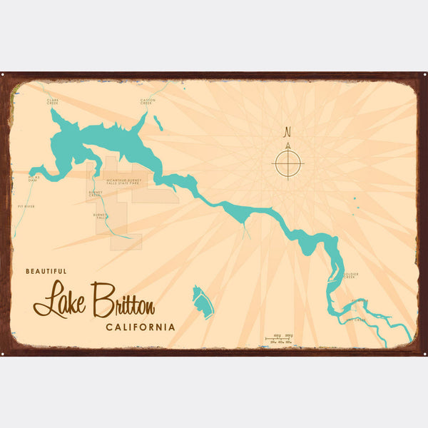 Lake Britton California, Rustic Metal Sign Map Art