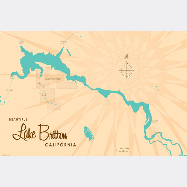 Lake Britton California, Metal Sign Map Art