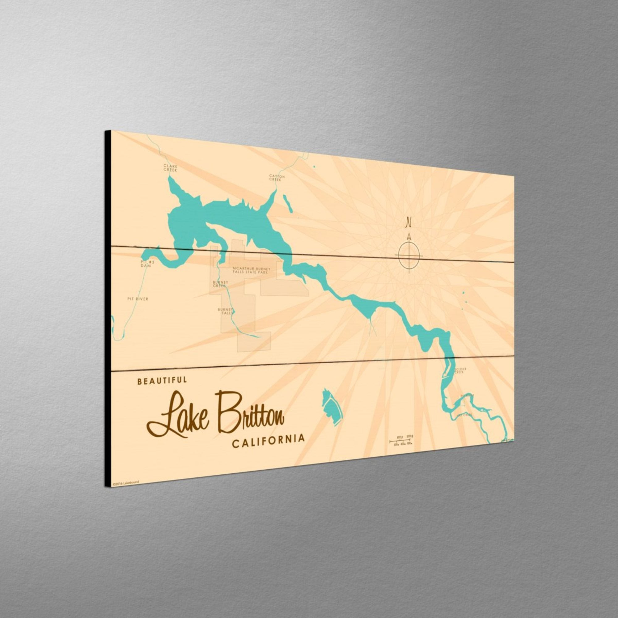 Lake Britton California, Wood Sign Map Art