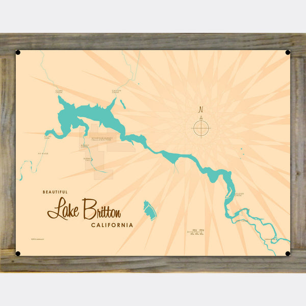 Lake Britton California, Wood-Mounted Metal Sign Map Art