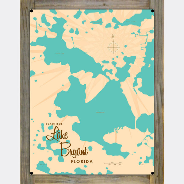Lake Bryant Florida, Wood-Mounted Metal Sign Map Art