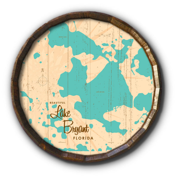 Lake Bryant Florida, Rustic Barrel End Map Art