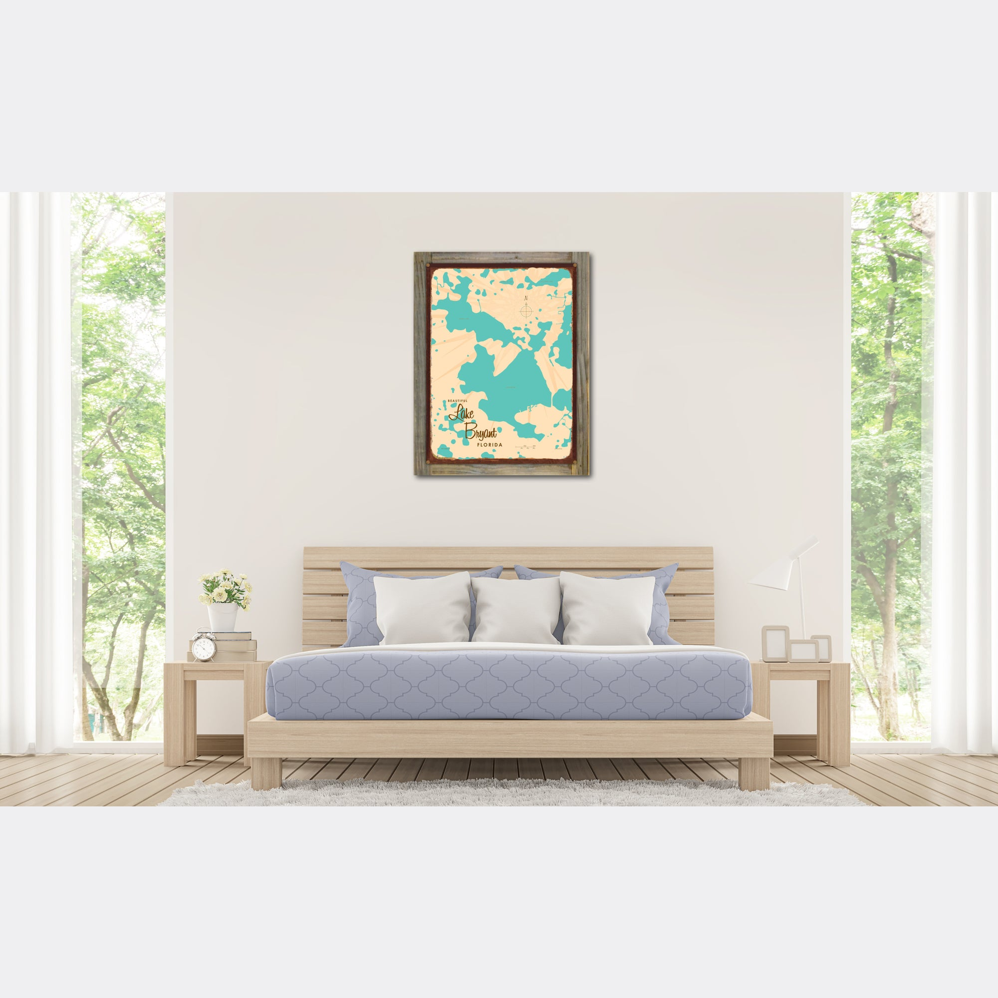 Lake Bryant Florida, Wood-Mounted Rustic Metal Sign Map Art