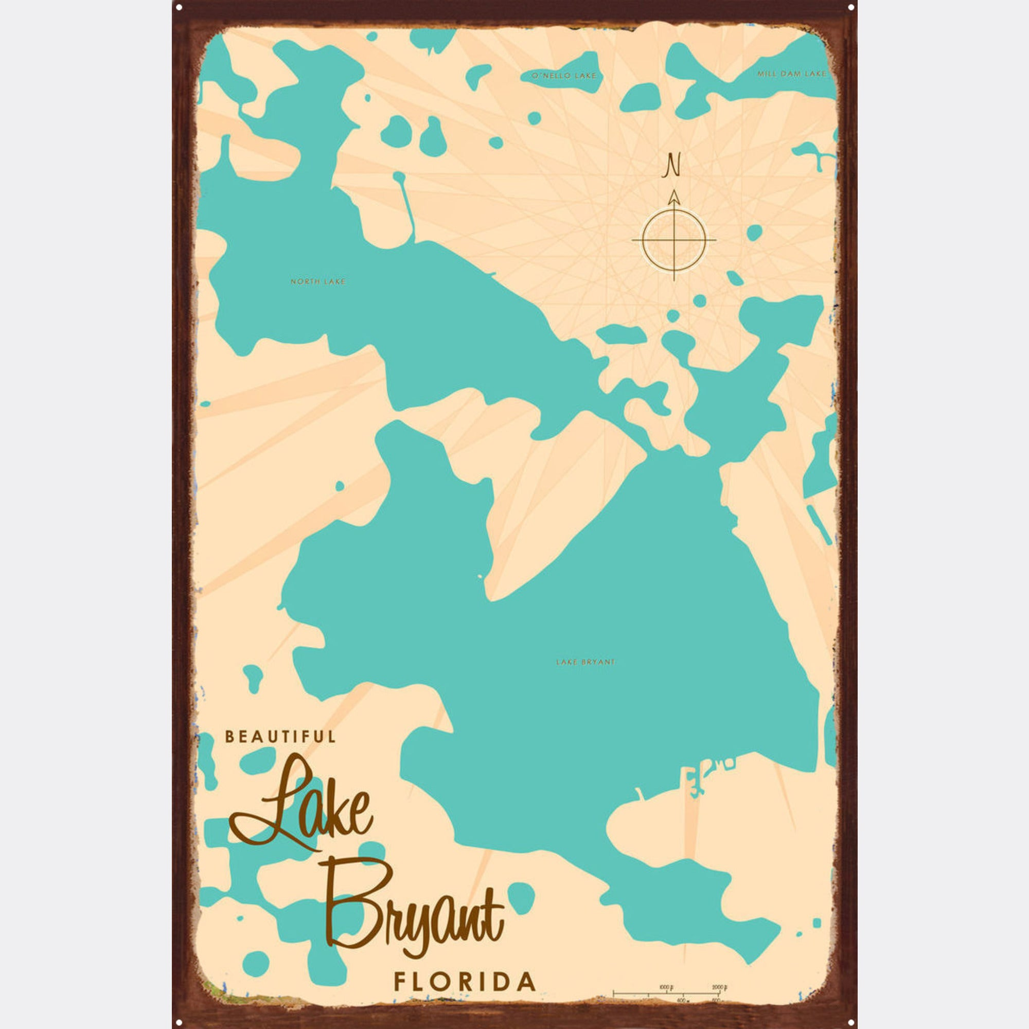 Lake Bryant Florida, Rustic Metal Sign Map Art