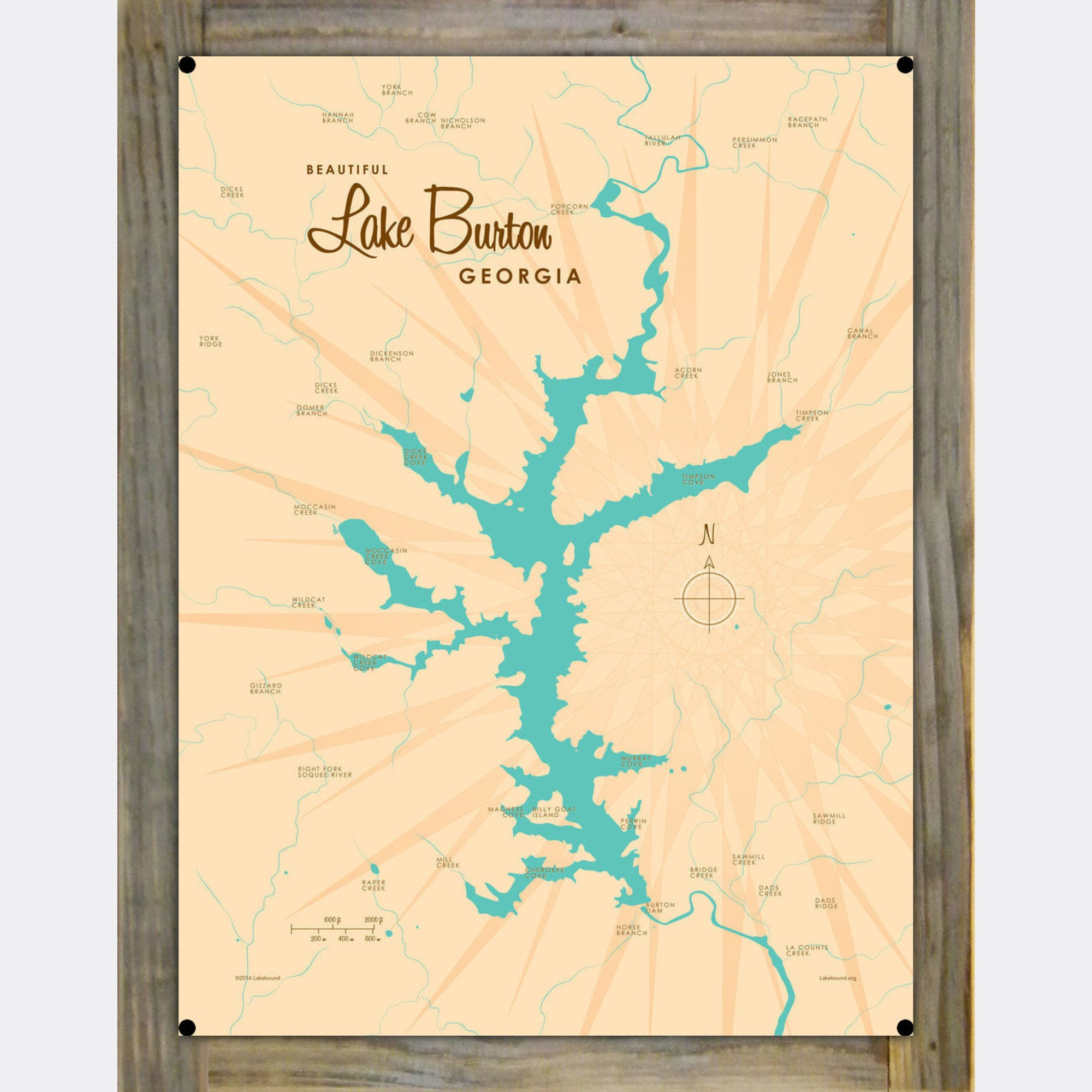 Lake Burton Georgia, Wood-Mounted Metal Sign Map Art