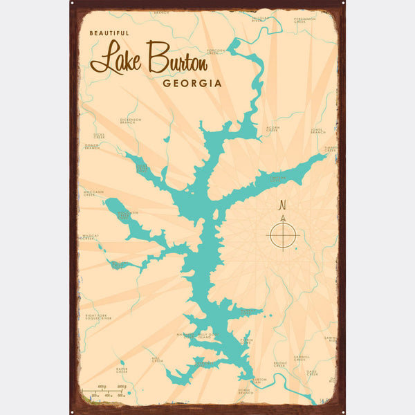 Lake Burton Georgia, Rustic Metal Sign Map Art
