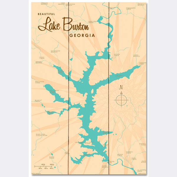 Lake Burton Georgia, Wood Sign Map Art