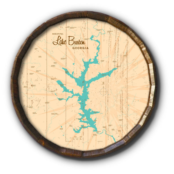 Lake Burton Georgia, Rustic Barrel End Map Art