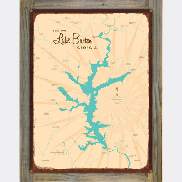 Lake Burton Georgia, Wood-Mounted Rustic Metal Sign Map Art