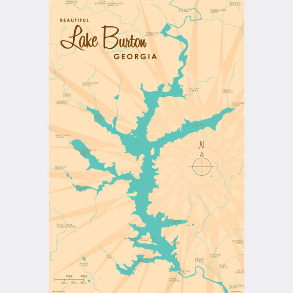 Lake Burton Georgia, Metal Sign Map Art