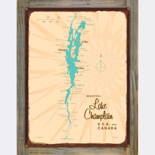 Lake Champlain New York, Wood-Mounted Rustic Metal Sign Map Art