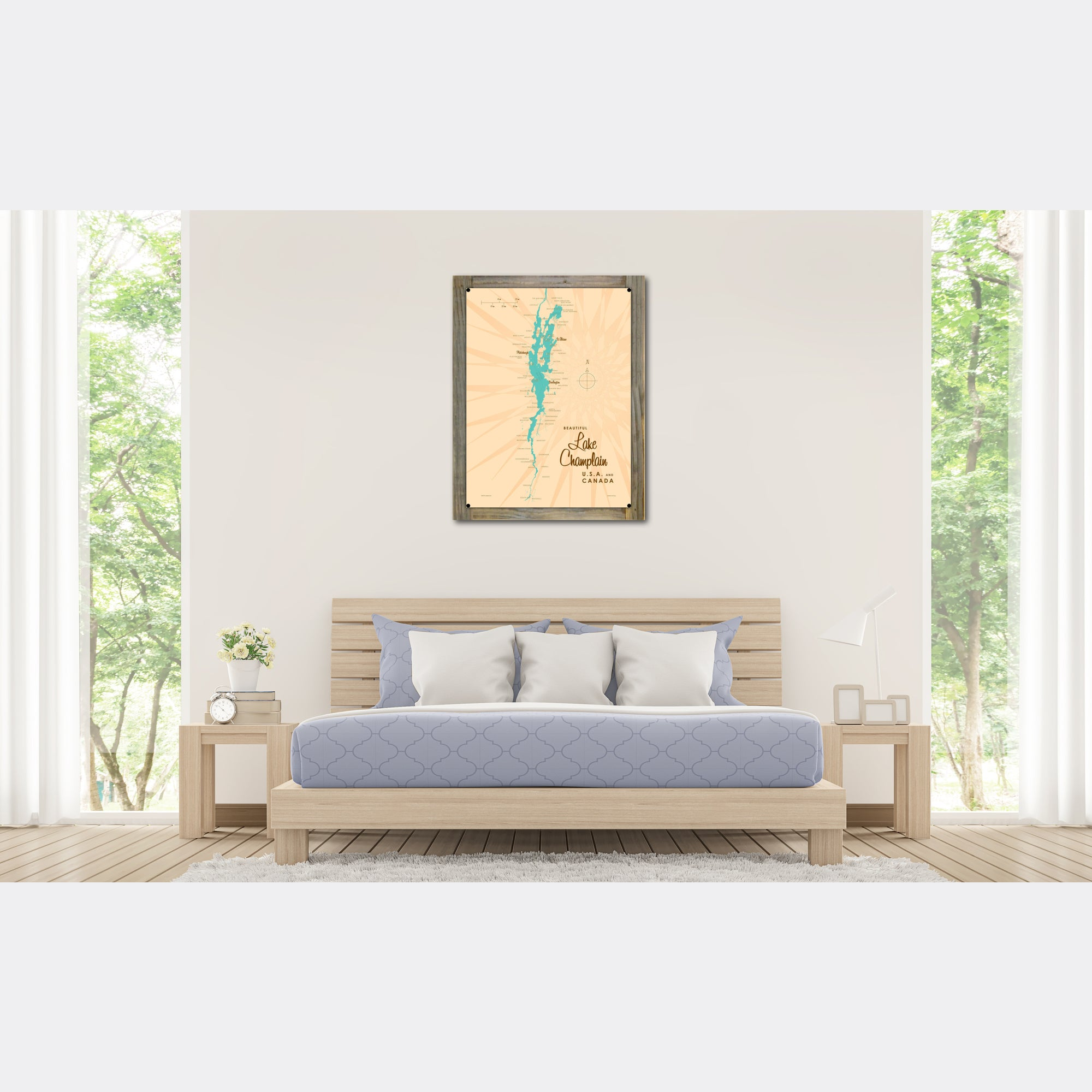 Lake Champlain New York, Wood-Mounted Metal Sign Map Art