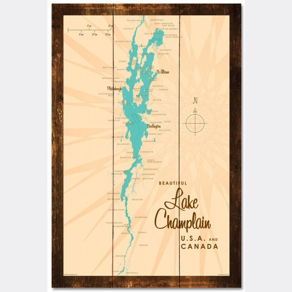 Lake Champlain New York, Rustic Wood Sign Map Art