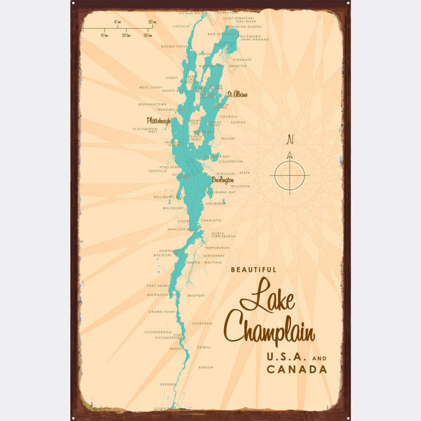 Lake Champlain New York, Rustic Metal Sign Map Art