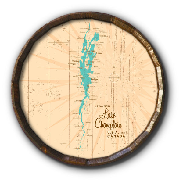 Lake Champlain New York, Rustic Barrel End Map Art
