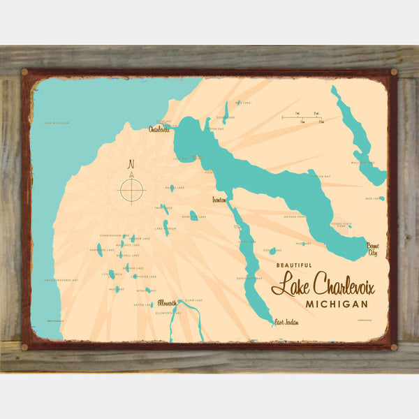 Lake Charlevoix, Wood-Mounted Rustic Metal Sign Map Art