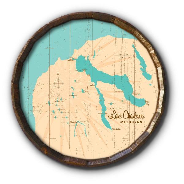 Lake Charlevoix, Rustic Barrel End Map Art