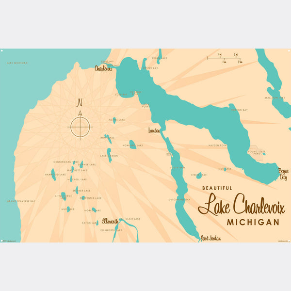 Lake Charlevoix, Metal Sign Map Art