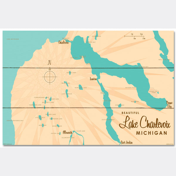 Lake Charlevoix, Wood Sign Map Art