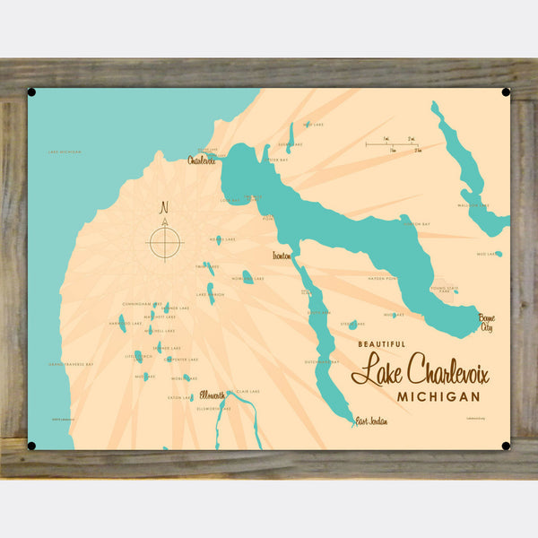 Lake Charlevoix, Wood-Mounted Metal Sign Map Art
