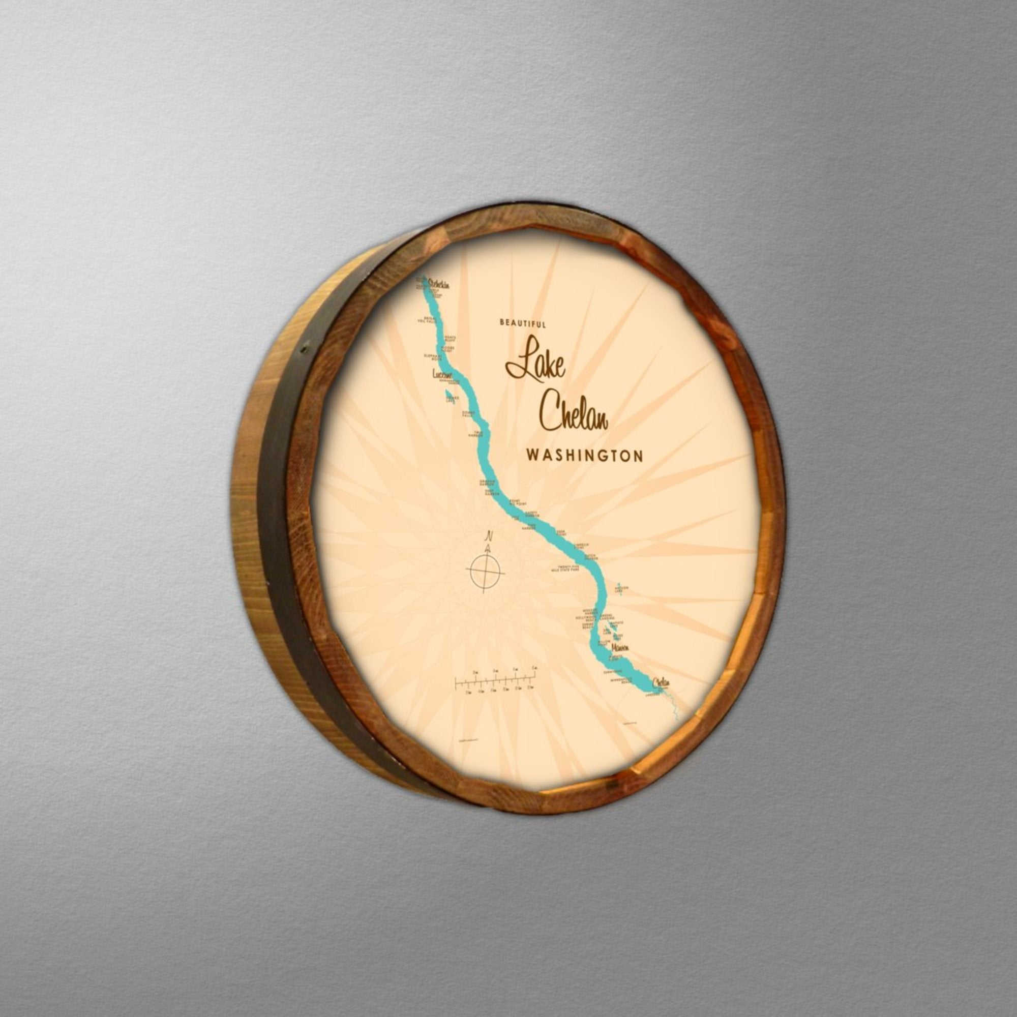 Lake Chelan Washington, Barrel End Map Art